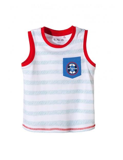 Koszulka chłopięca bawełniana na ramiączka w marynarskie motywy