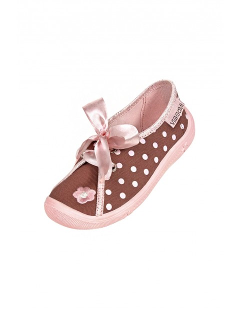 Buty dziewczęce różowe w kropki