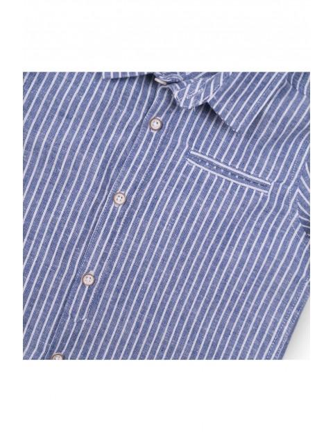 Koszula chłopięca z krótkim rękawem - niebieska w paski