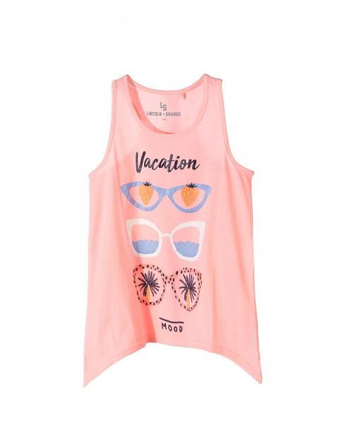 Bluzka na lato dla dziewczynki- różowa w kolorowe okulary