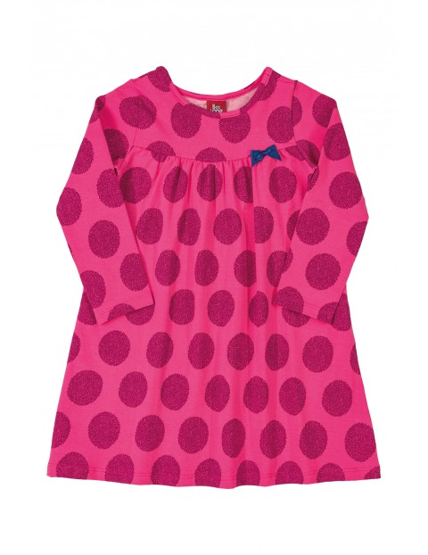 Sukienka dziewczęca w kropki - różowa