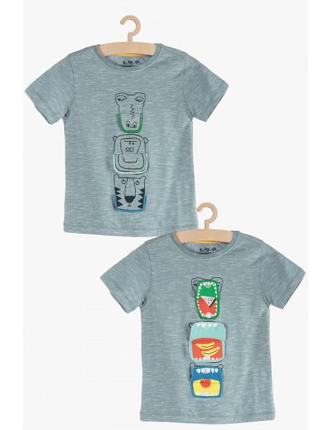 T-shirt chłopięcy ze zwierzakami- 100% bawełna