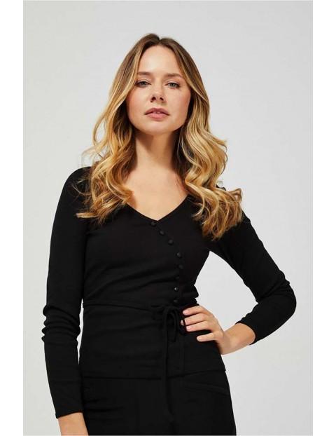 Bluzka damska czarna z ozdobnymi guzikami