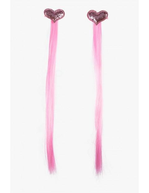 Spinki do włosów -Serca z różowymi włosami 2 szt.