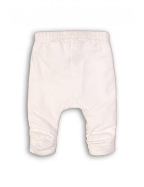 Leginsy niemowlęce z marszczeniem na nogawce- białe