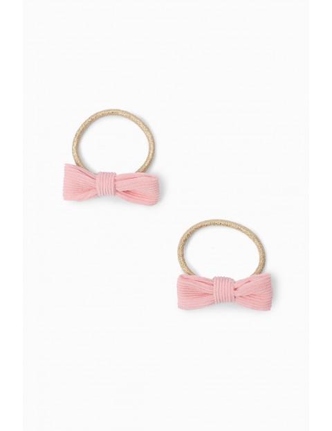 Różowe kokardki - gumki do włosów 2szt