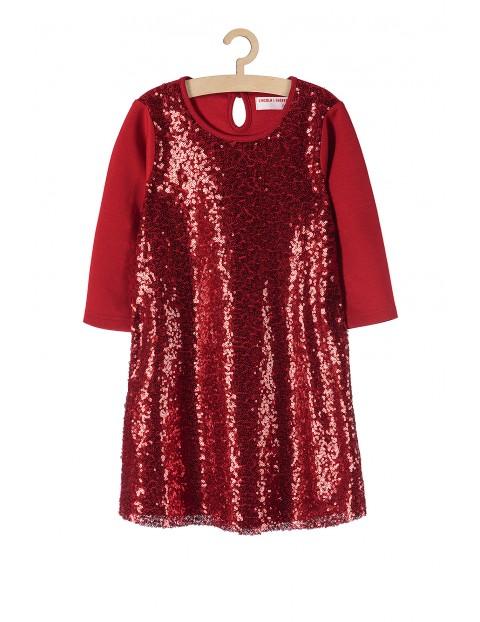 Elegancka świąteczna sukienka dla dziewczynki- czerwona z cekinami z przodu