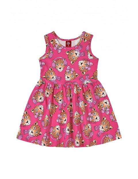 Sukienka dziewczęca w zwierzaki - różowa