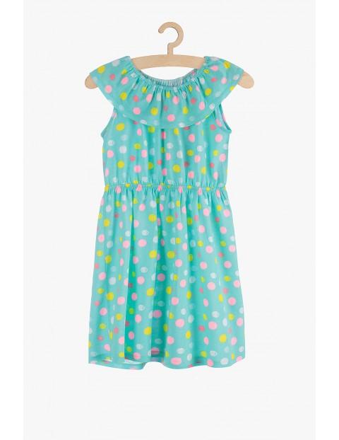Bawełniana sukienka na lato- zielona w kropki
