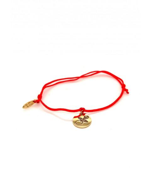 Narodziny - bransoleta pozłacany Smoczek - czerwony sznurek