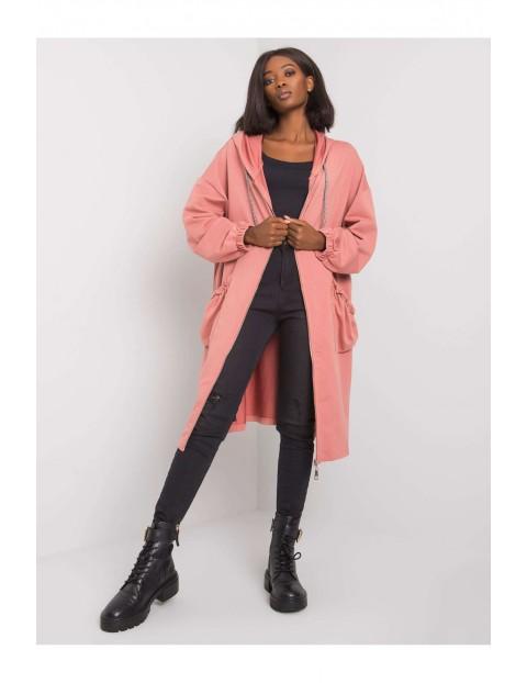 Bluza dresowa długa z kapturem - różowa oversize
