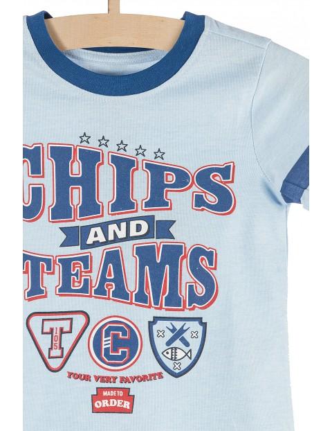 Koszulka chłopięca niebieska z modnymi nadrukami