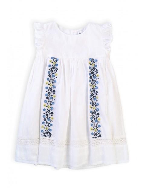 Bawełniana sukienka dziewczęca z kwiecistym wzorem