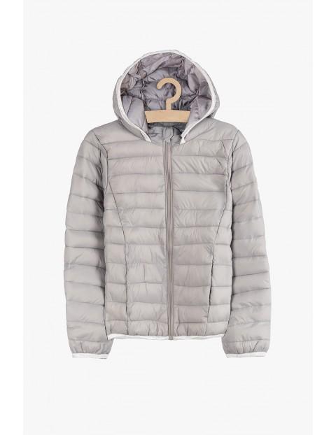 Lekka przejściowa kurtka dla dziewczynki- szara