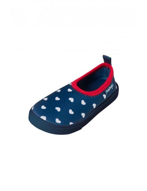 Buty kąpielowe z filtrem UV 50+ granatowe w białe groszki