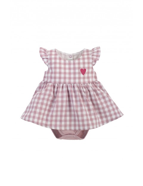 Bawełniana sukienka z body w różową - białą kratkę