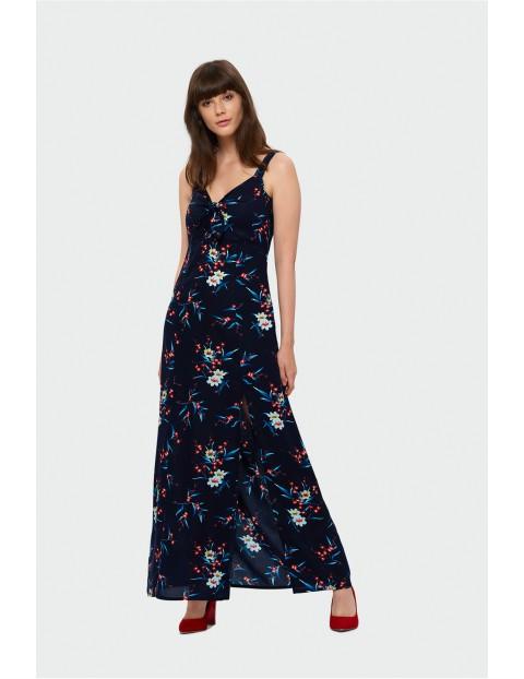 Długa sukienka damska z rozcięciami na dole- granatowa w kwiaty