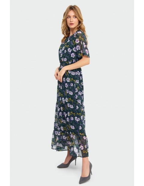 Elegancka sukienka z kwiatowym nadrukiem