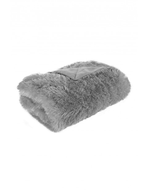 Koc z delikatnego futerka - srebrny - 200x220cm
