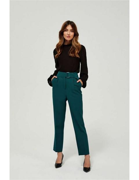 Spodnie damskie zielone w kant z wysokim stanem