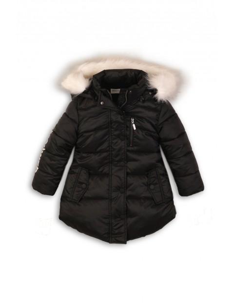 Kurtka dziewczęca zimowa- czarna z kapturem