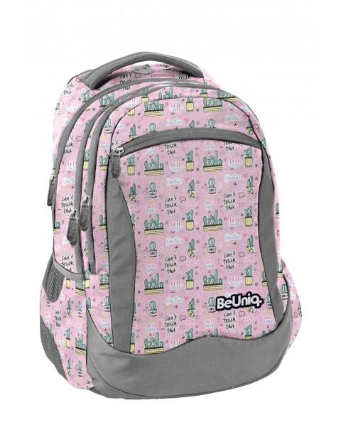Plecak szkolny różowy- Kaktusy