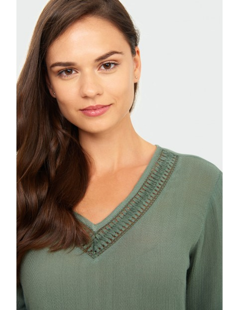 T-shirt damski  na krótki rękaw w kolorze khaki