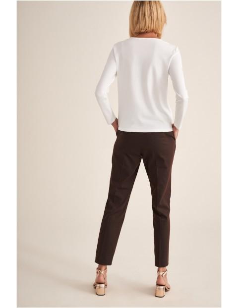 Spodnie damskie tkaninowe brązowe- klasyczny fason