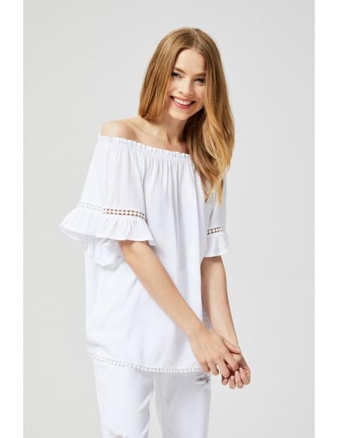 Bluzka damska koszulowa typu hiszpanka biała
