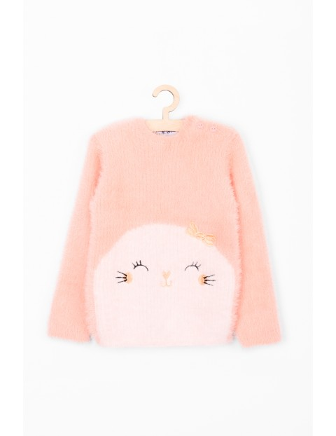Różowy włochaty sweter dla niemowlaka z motywem foki