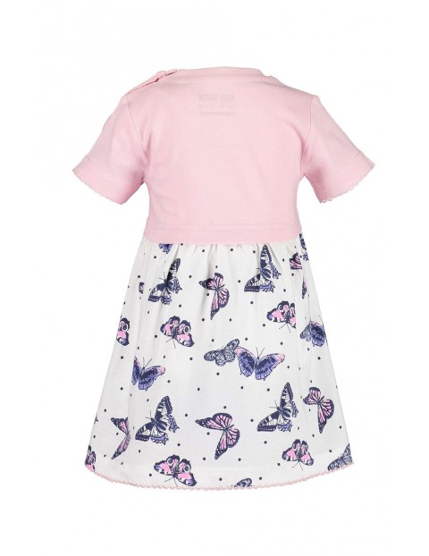 Sukienka dziewczęca różowo-biała w motylki