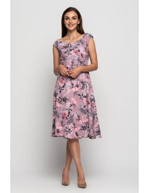 Fioletowa sukienka  w kwiaty - grube ramiączka