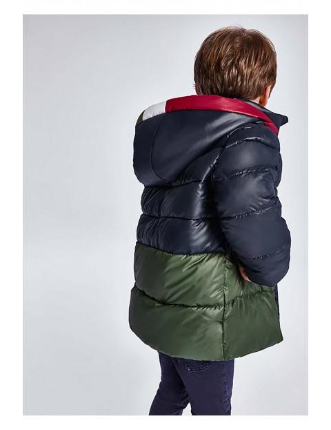 Kurtka chłopięca zimowa Mayoral z odpinanym kapturem - czarno - zielona