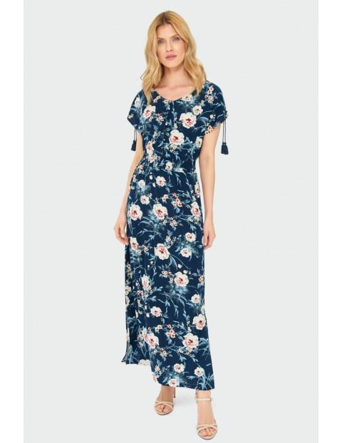 Długa wiskozowa sukienka z kwiatowym nadrukiem granatowa