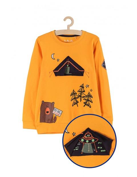 Bluza dresowa z cienkiej dzianiny- pomarańczowa z aplikacją 3D świecącą w ciemności