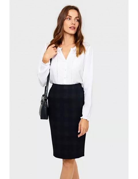 Koszula damska z wiskozy z długim rękawem - biała