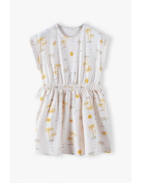 Sukienka na krótki rękaw w palemki - różowa