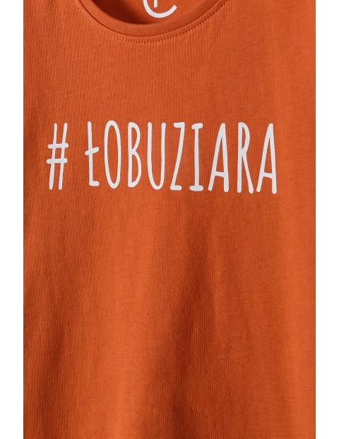 Bawełniany t-shirt dziewczęcy z napisem #Łobuziara