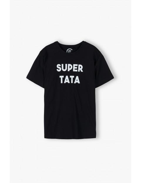 Bawełniany t-shirt dla mężczyzny czarny z napisem- Super Tata - ubrania dla całej rodziny