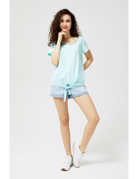 T-shirt damski bawełniany z wiązaniem