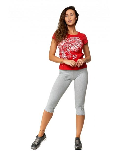 Bawełniany t-shirt o klasycznym kroju czerwony z orłem