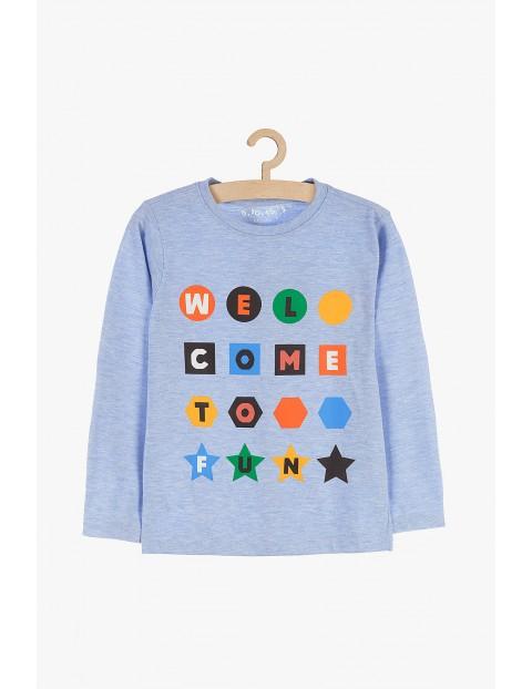 Bluzka chłopięca niebieska z napisem - Welcome to fun