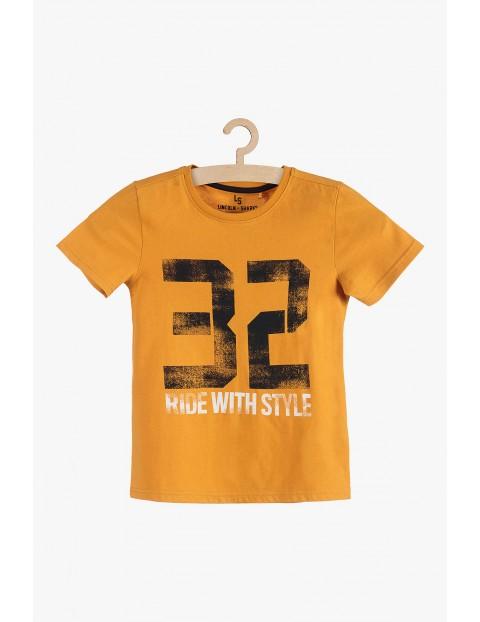 T-shirt dzianinowy- pomarańczowy