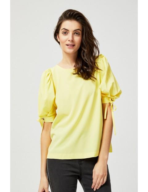 Bluzka koszulowa z bufiastymi rękawami - żółta