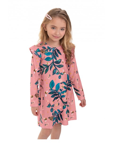 Sukienka dziewczęca w kwiatki - różowa