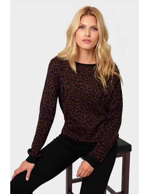 Sweter damski z motywem zwierzęcym - brązowy w panterkę
