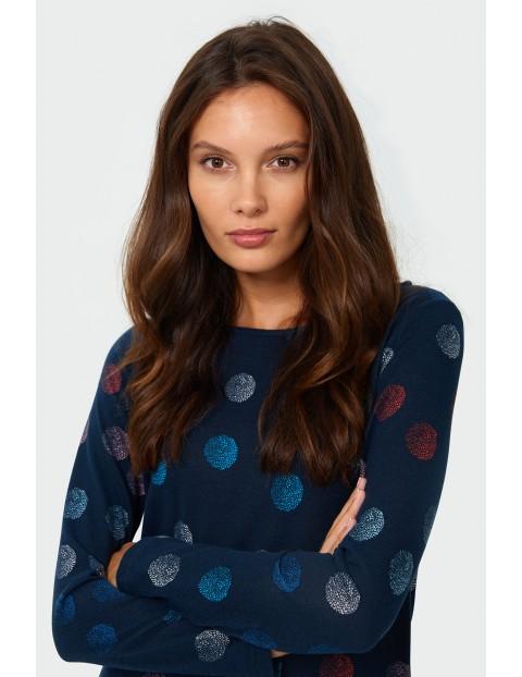Sweter damski w kolorowe kółka - granatowy