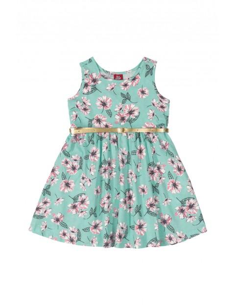 Sukienka dziecięca w kwiaty - niebieska z paskiem
