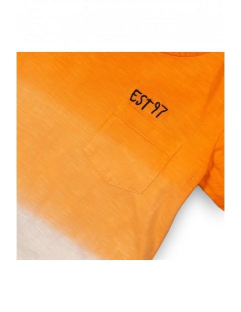 Pomarańczowo-biały t-shirt niemowlęcy
