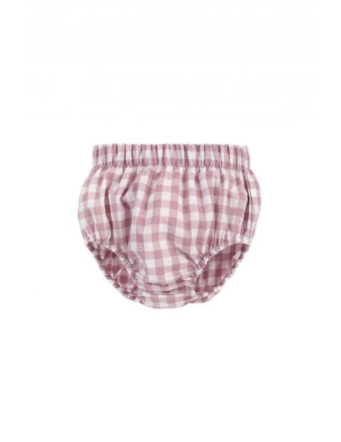 Dziewczęce bloomersy z przewiewnej tkaniny bawełnianej w różowo-białą kratkę